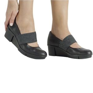 CLARKS Pola River Leather Mary Jane Wedge Shoes